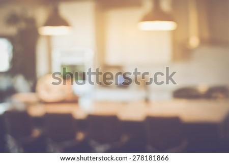 Blurred Modern Kitchen with Retro Instagram Style Filter - stock photo