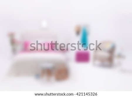 blurred modern white wall bedroom and minimal decor - stock photo
