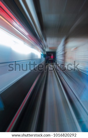 Blurred motion from train speed up from the platform.