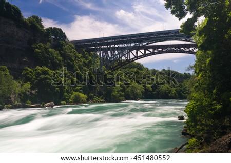 Blurred motion of  rapids in river by Whirlpool Bridge near White Water Walk at Niagara Falls - stock photo