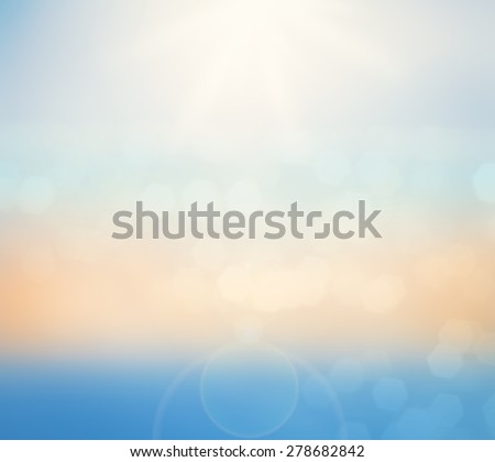 Blurred nature background. Abstract underwater and sunset skylight. World ocean day concept. - stock photo