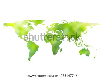 blurred nature world map isolated on white backgrounds. - stock photo