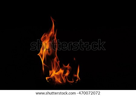 blurred of fire flame isolated on black background