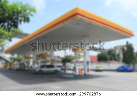 Blurred Of Gas Station. - stock photo
