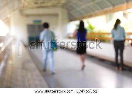 Blurred of Hospital : Nurse walking on corridor.   - stock photo