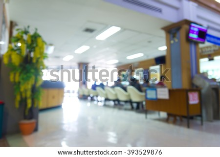Blurred of hospital : Patient waiting to see the doctor at the hall  - stock photo