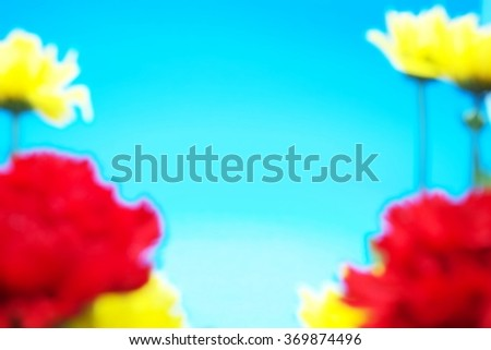 Blurred of red carnations and yellow flowers with blue background. Space for texts. - stock photo