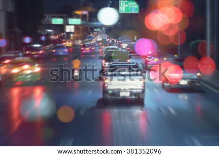 Blurred of traffic jam in rainy day with bokeh light. Bangkok Thailand - stock photo