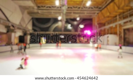 Blurred or de focus ice skate hall - stock photo