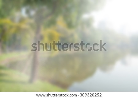 blurred park with morning light - blur background concept - stock photo