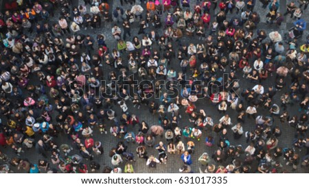 Blurred People View from Above