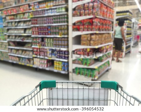 blurred photo of store with trolley in department store  - stock photo