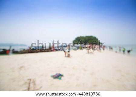 blurred photo of tourist at the beach, Krabi, Thailand  - stock photo