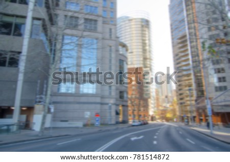 Blurred photography of Street view with cityscape.