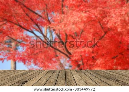 blurred red autumn seasonal with blur leaf of tree with cream brown wooden tiles plank backdrop:blurry of red orange natural background:wallpaper with shiny sunny concept:fall and spring conception. - stock photo