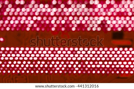 blurred red pcb motherboard chip microchip integrated circuit board pattern background - stock photo