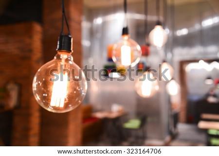 Blurred restaurant background  - stock photo