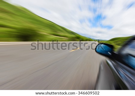 Blurred road and car, speed motion