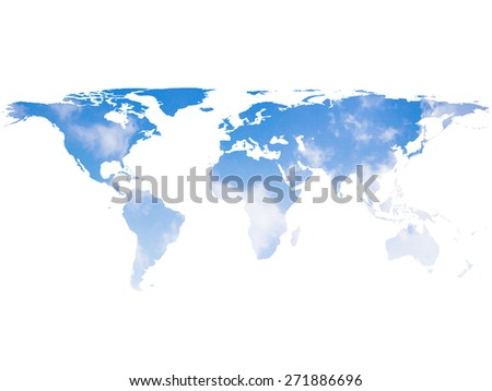 blurred sky world map isolated on white backgrounds - stock photo