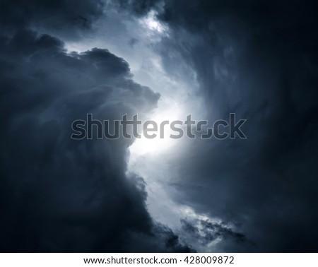 Blurred Swirl in the Dark Storm Clouds - stock photo
