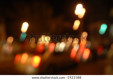 blurred taxi at night - stock photo