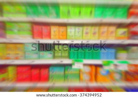 Blurred tea section at a supermarket in Canada - stock photo