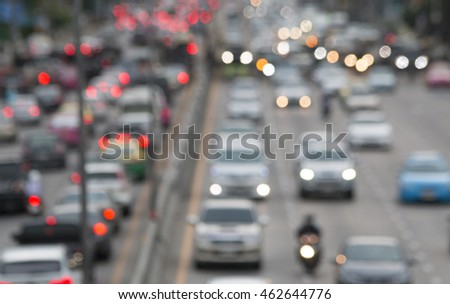 blurred traffic jam with bokeh light on  street in bangkok , Motion blur,thailand