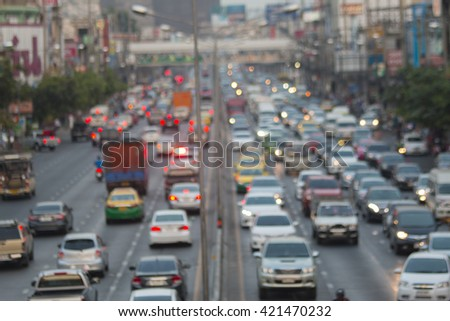blurred traffic jam with light - stock photo