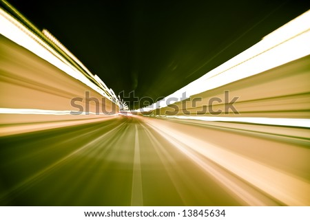 Blurred tunnel crossed at high speed - stock photo