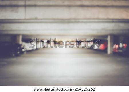 Blurred Underground Parking Lot with Retro Instagram Style Filter - stock photo