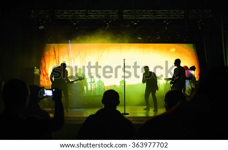 Blurred view on rock concert - stock photo