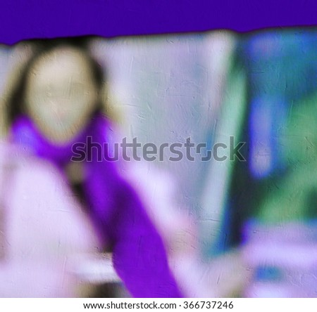 Blurred young business woman working in the office. - stock photo