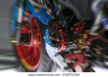 Blurred Zoom at motorcycle engine in Car show event at Bangkok, Thailand.