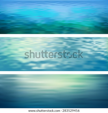 Blurry abstract water ripple banners. Marine panoramic landscape - stock photo