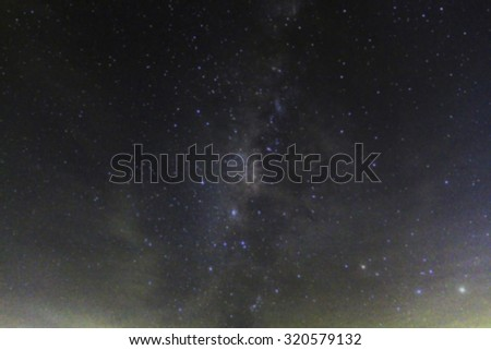 blurry and Long exposure photograph with gain of the Milky Way galaxy on dark night - stock photo