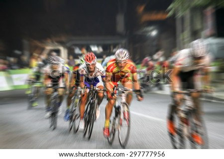 blurry Asian Cycling Championship during the race for background - stock photo