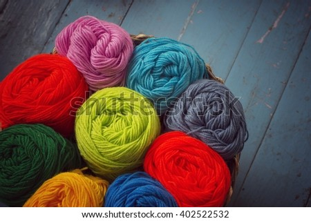 Blurry background colorful knitting  - stock photo