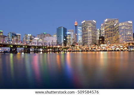 Blurry background of Darling Harbor in Sydney city Australia at dusk.