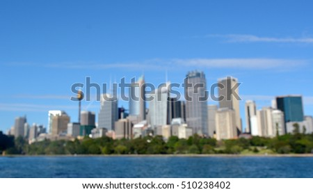 Blurry background of Sydney Central Business District skyline in New South Wales, Australia.