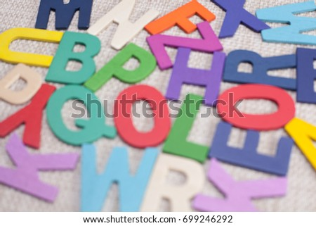 blurry colorful letters background