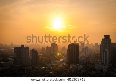 Blurry of Cityscape Bangkok with sunset.background - stock photo