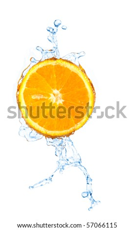 blurry water splash in a slice of orange  isolated on white - stock photo