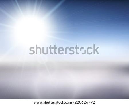 Blurry white mountain, and blur blue sky with winter sun burst, illustration - stock photo