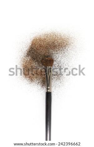 Blush brush with blush on it, loose powder and glitter blush, isolated on white backgrownd. - stock photo