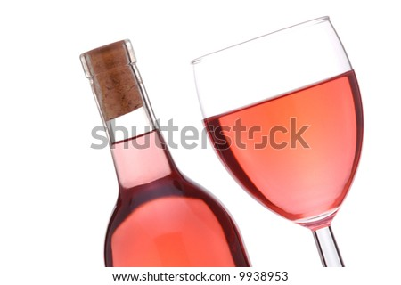 Blush or Rose Wine Bottle and Glass at a slant isolated over white - stock photo