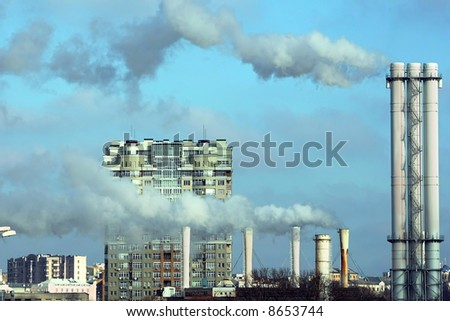 blye sky and exhaust smoke - stock photo
