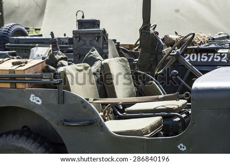BLYTH. NORTHUMBERLAND. MAY 17,2015. Scene from World War 2 reenactment weekend, Allied Forces vehice, Jeep. May 17, 2015, Blyth, Northumberland, England, UK.