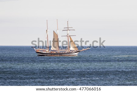 BLYTH, NORTHUMBRLAND, ENGLAND. AUGUST 29, 2016. Tall Ships Regatta. Ship Oosterschelde, leaving Blyth and heading out to sea. August 29, 2016, Blyth, Northumberland, England, UK.
