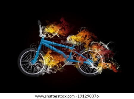 BMX bike in the colored smoke. Sport concept - stock photo
