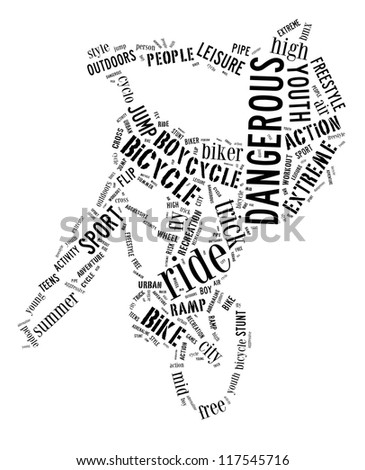 BMX info-text graphic and arrangement composed in BMX cyclist shape concept on white background - stock photo